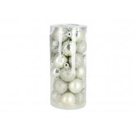 Bożonarodzeniowa bombka 3cm 0324silver/white