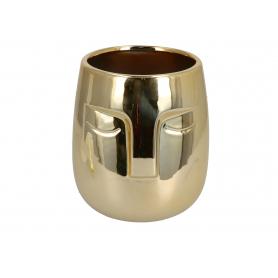 Ceramiczna doniczka Twarz złota 07955