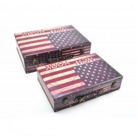 Drewniany/skórzany kufer zestaw 2 sztuk