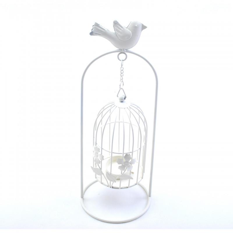 Metalowy świecznik z klatką i ptaszkiem