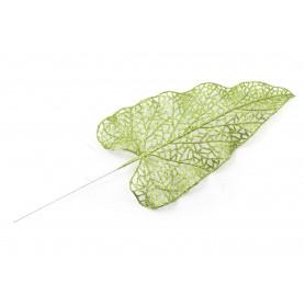 kwiat sztuczny: liść brokatowy 35,5x11,5