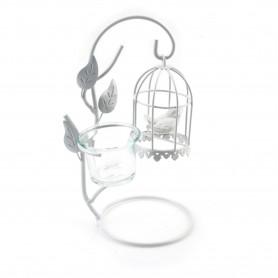 Świecznik metalowy klatka z ptakiem 24cm