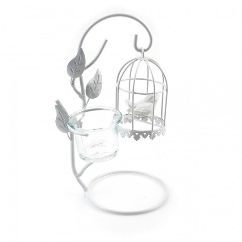 Metal świecznik klatka z ptakiem 24cm
