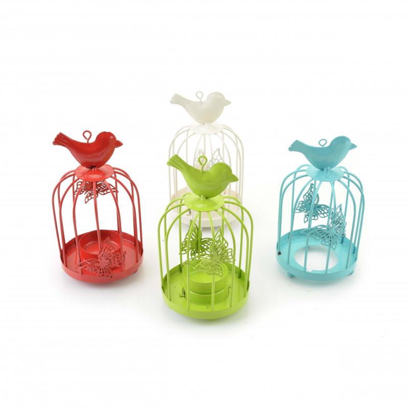 Metalowy świecznik klatka z ptaszkiem