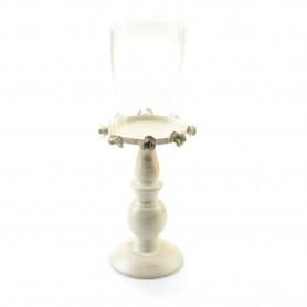 Metalowy świecznik ze szkłem 9,5x33