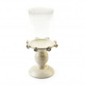 Metalowy świecznik ze szkłem 9,5x25