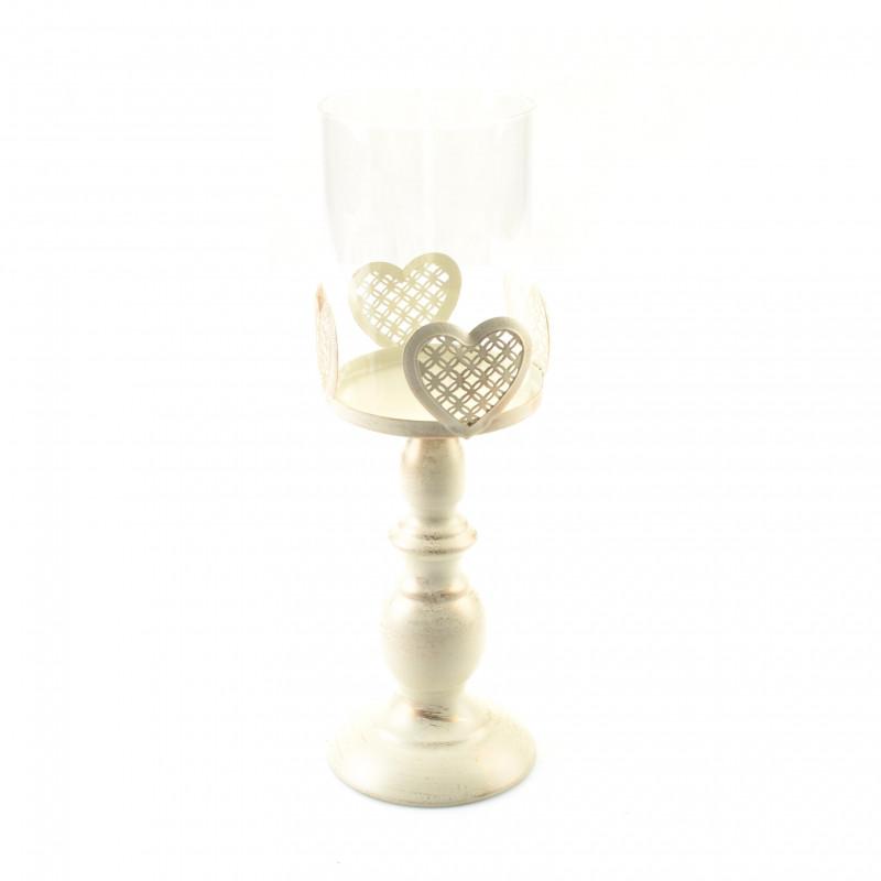 Metal biały świecznik SERCE cm 33