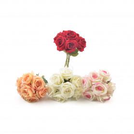 Kwiaty sztuczne bukiet róży 30cm - 7 -