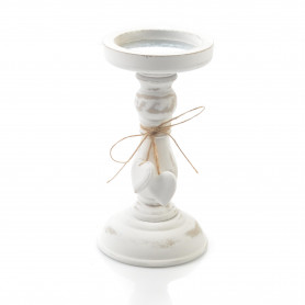 Drewniany świecznik patynowy 19,5 cm