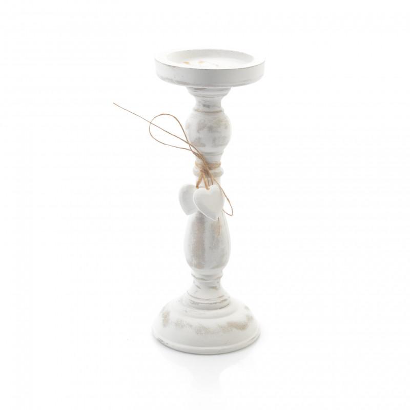 Drewniany świecznik patynowy 26 cm