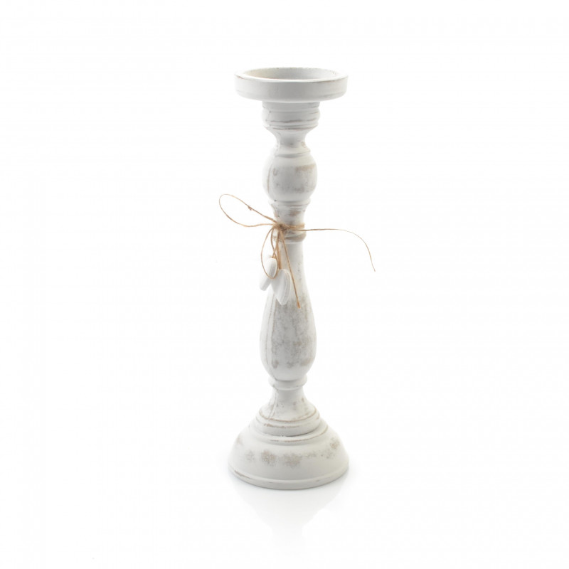 Drewniany świecznik patynowy 37 cm