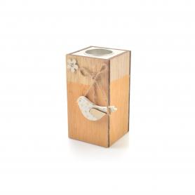 Drewniany świecznik BIRD 13x7cm