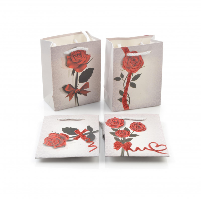 Papierowa torebka ozdobna RÓŻA 14x11x6,5
